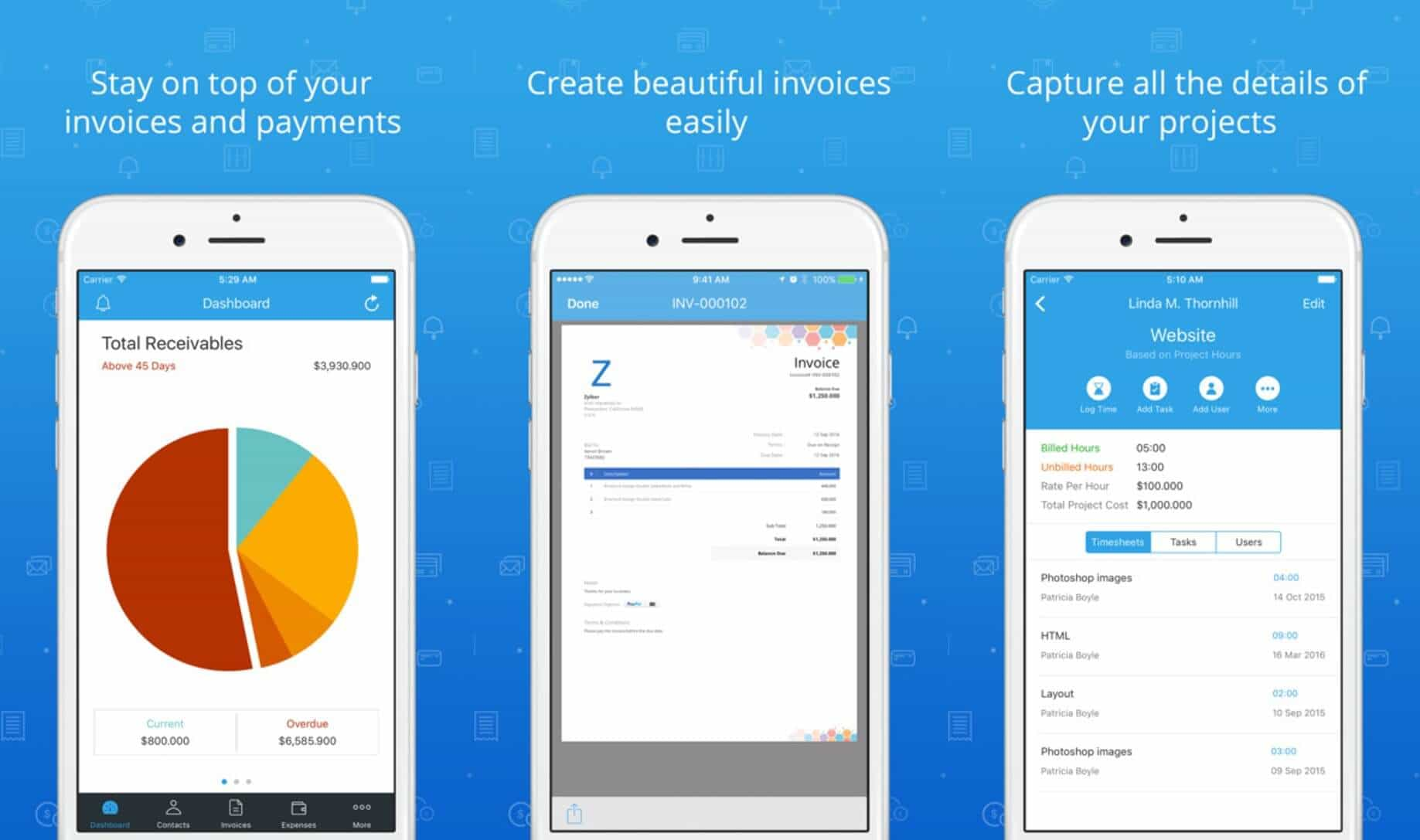 Zoho - Invoicing and Time Tracking App