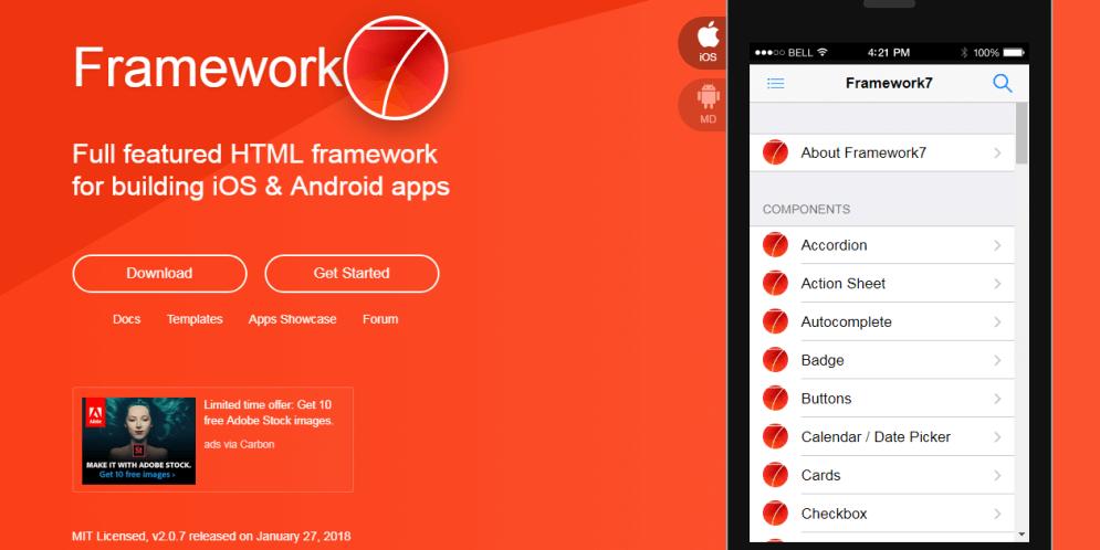 Framework 7 Top Responsive HTML5 Frameworks