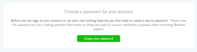 create your password