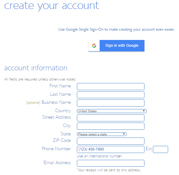 fill all the required account information