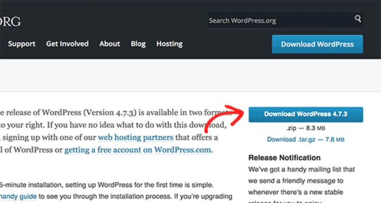 Download the WordPress zip