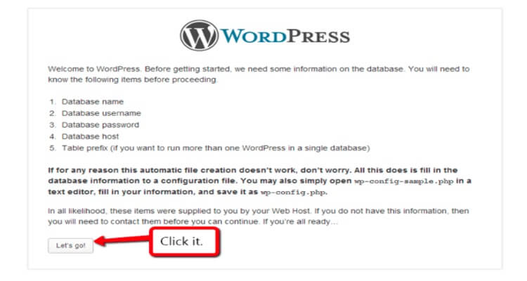 Installing of WordPress