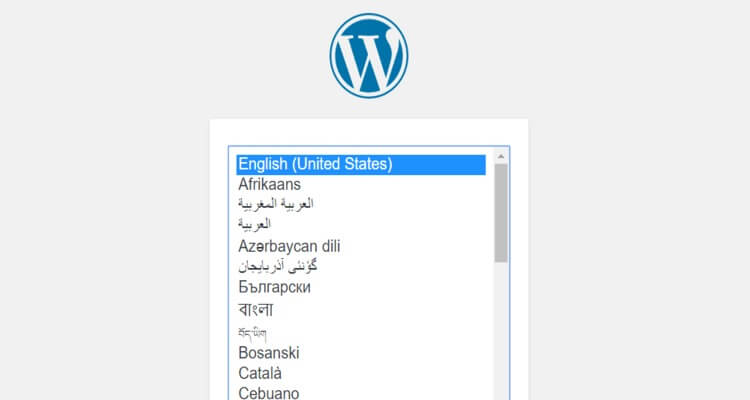 select wordpress language